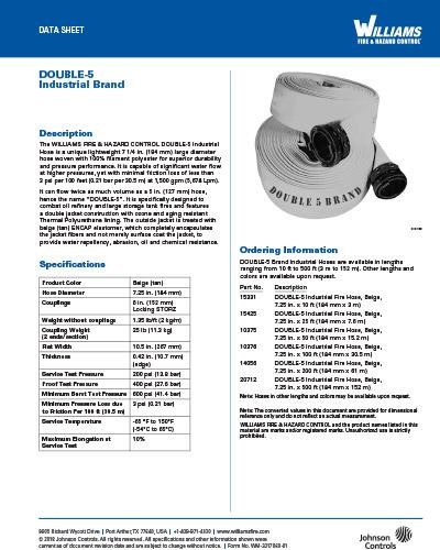 Williams Double-5 Industrial Fire Hose | Williams Fire
